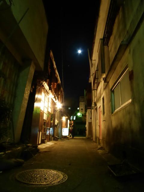 'The New World Street'on a moonlit night - a back street in Nishiura of Shimoyoshida