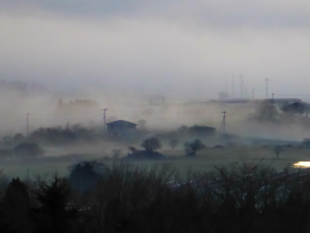 Hills getting blurred with evening mist