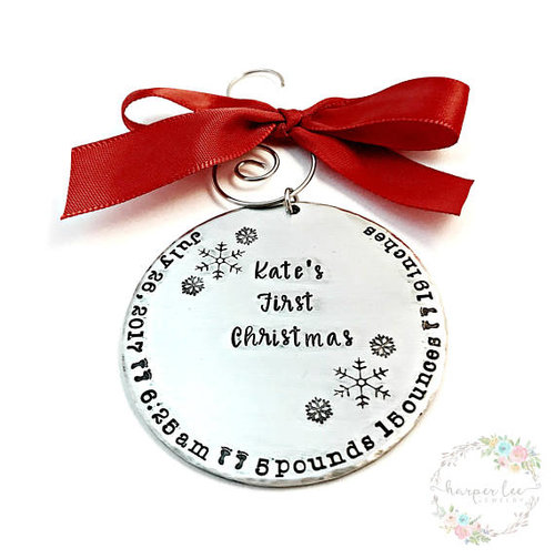 babys first christmas large pewter hand stamped ornament