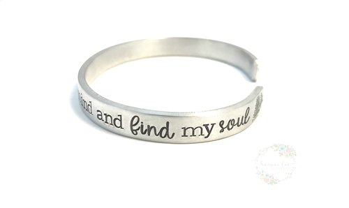 John Muir Quote Hand Stamped Cuff Bracelet Into The Forest I Go