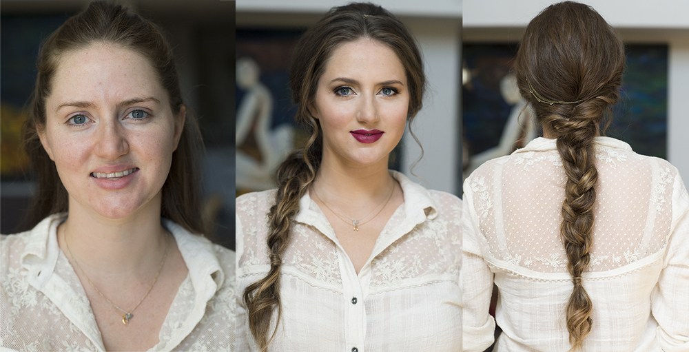 Before and after boho braid toussled messy hair berry lips by Beauty Affair Agne.jpg