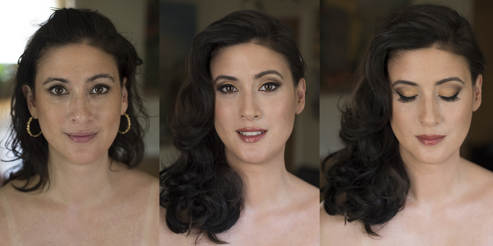 Bridal makeup and hair by Agne Beauty Affair light smokey brown eyes before and after.jpg