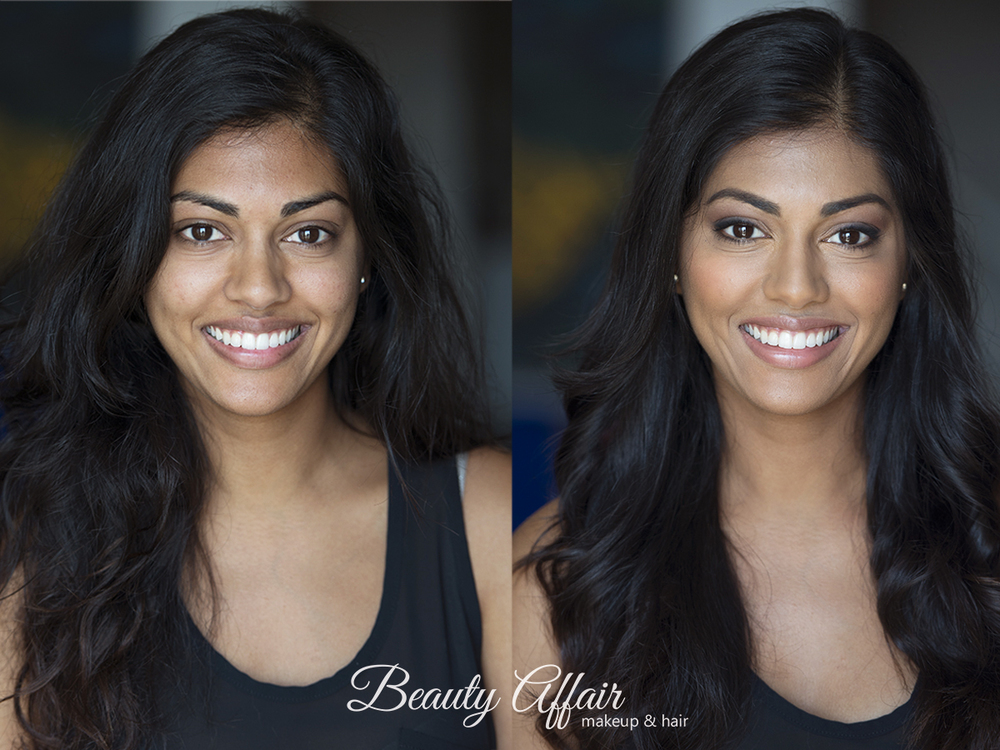 Before and after natural headshot makeup hair for indian actress by Agne Beauty Affair smile.jpg