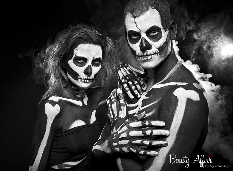 Scary halloween makeup by Agne SkaringaHalloween unique interesting top fun makeup hair styling by Ange Skaringa Beauty Affair dead unique crazy hot skeleton