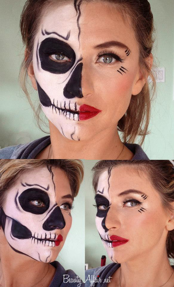 Halloween makeup by Agne Skaringa skull beauty interesting woman painting