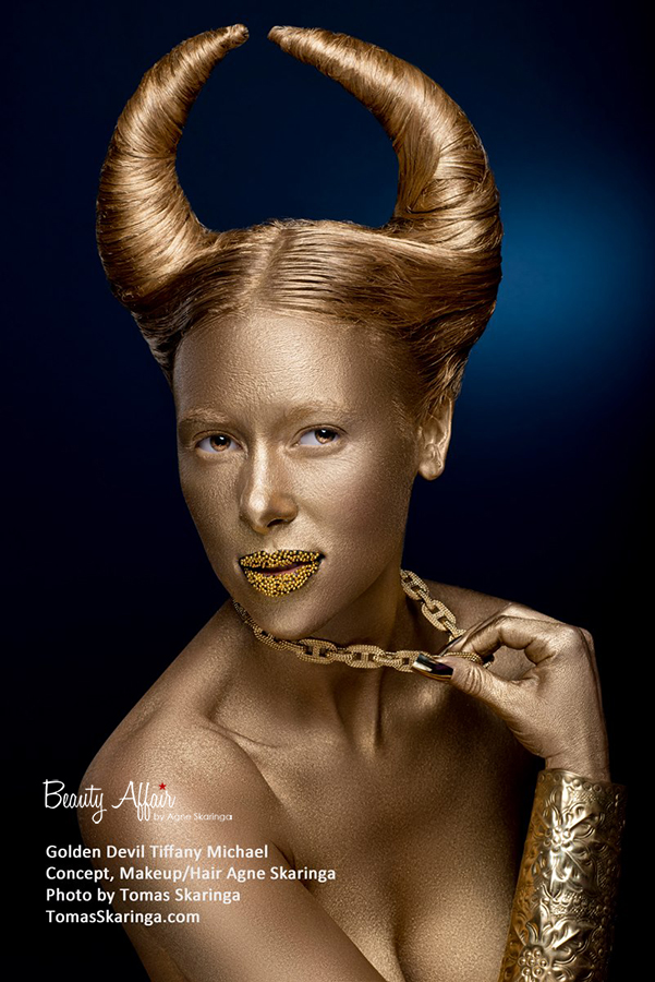 Golden devil by Agne Skaringa artistic makeupHalloween unique interesting top fun makeup hair styling by Ange Skaringa Beauty Affair sexy hallloween unique body oainting