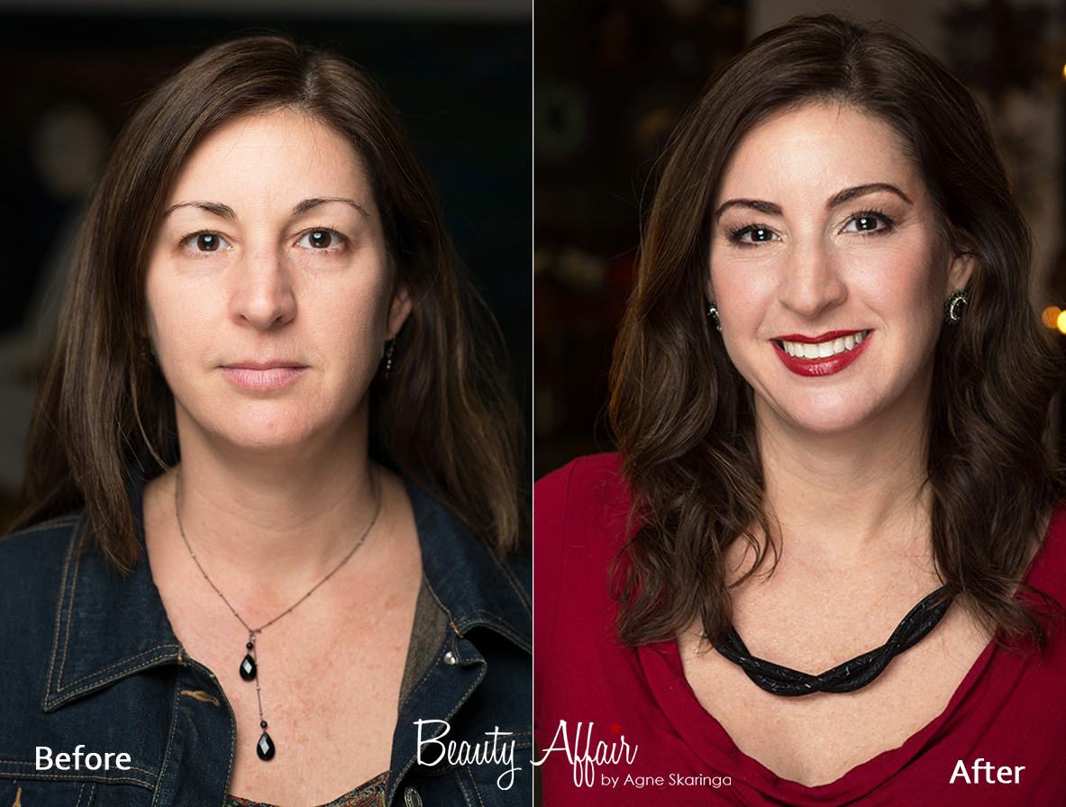Private make up class los angeles makeup aplication before and after hairstyling  by Beauty Affair
