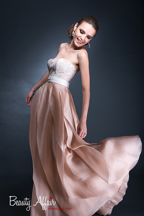 Bridal makeup and hair by Beauty Affair - Agne Skaringa coral cheeks brown natural glowing color dress rosy pink gown