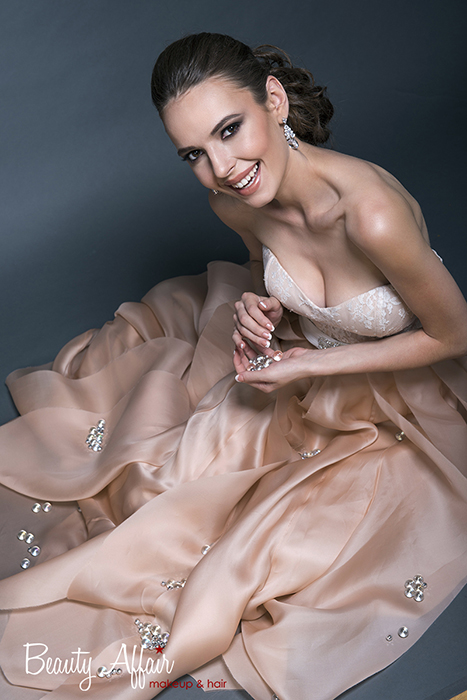 Bridal makeup and hair by Beauty Affair - Agne Skaringa coral cheeks brown natural glowing color dress rosy pink gown smile blushing bride crystals