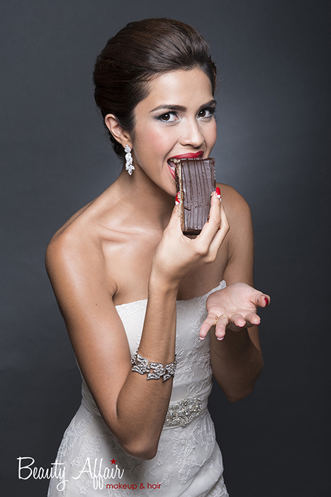 elegant gorgeous Bridal makeup and hair by Beauty Affair - Agne Skaringa eating cocolate cake