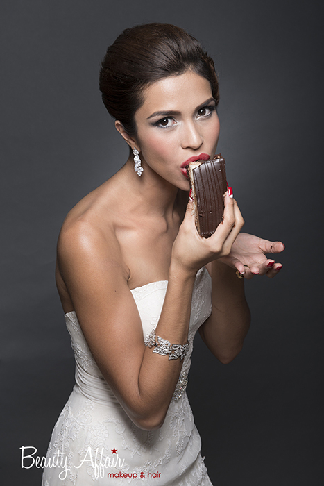 elegant gorgeous Bridal makeup and hair by Beauty Affair - Agne Skaringa a line gown brown tasty cake eating fun