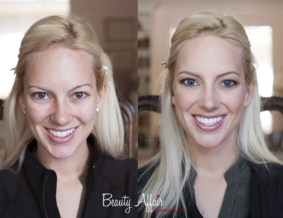 Makeup and hair by Beauty Affair before and after photos transformation blonde bride light hair blue eyes pink lips