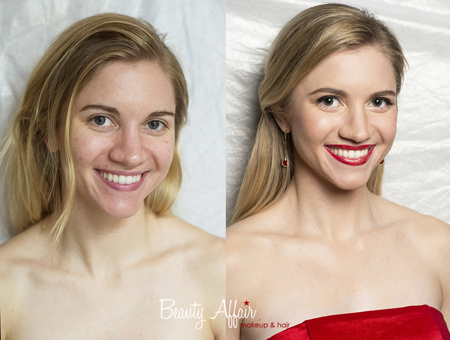 Makeup and hair by Beauty Affair before and after photos transformation