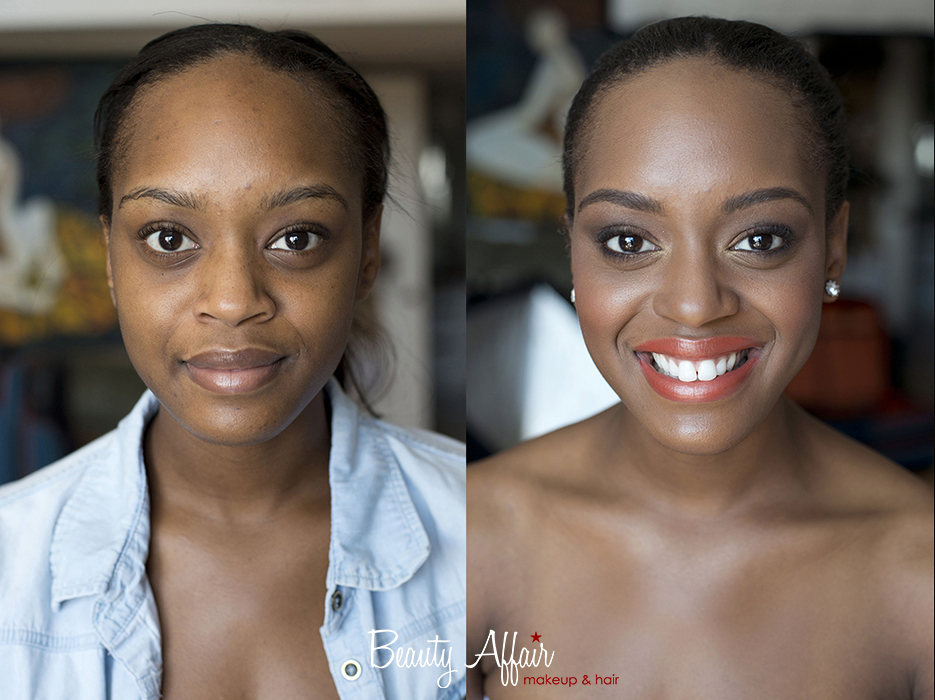 Makeup by Beauty Affair before and after african american black beauty gorgeous model los angeles