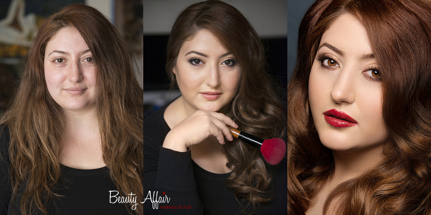 Makeup trial natural before and after by Beauty Affair Agne Armenian beauty brown eyes cooper hair