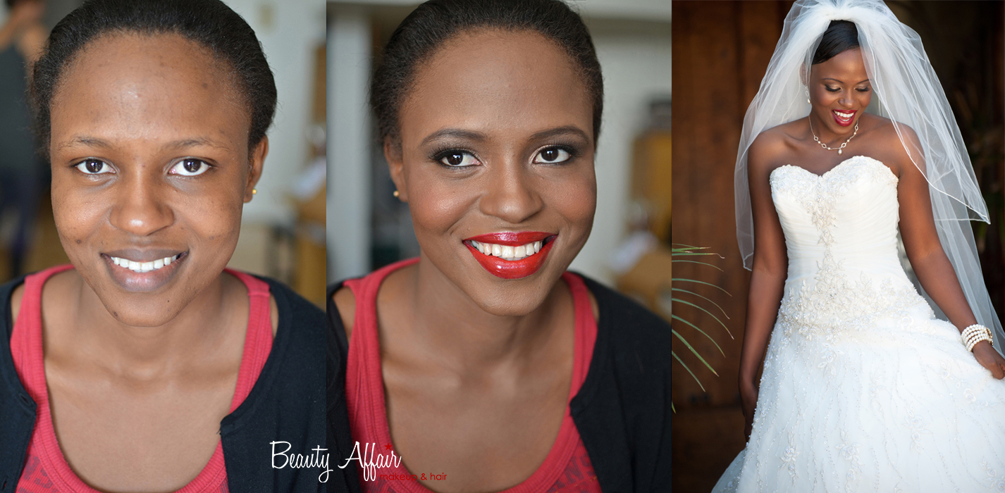 African american bridal makeup before and after by Beauty Affair  Agne glamorous bride red lips chocolate