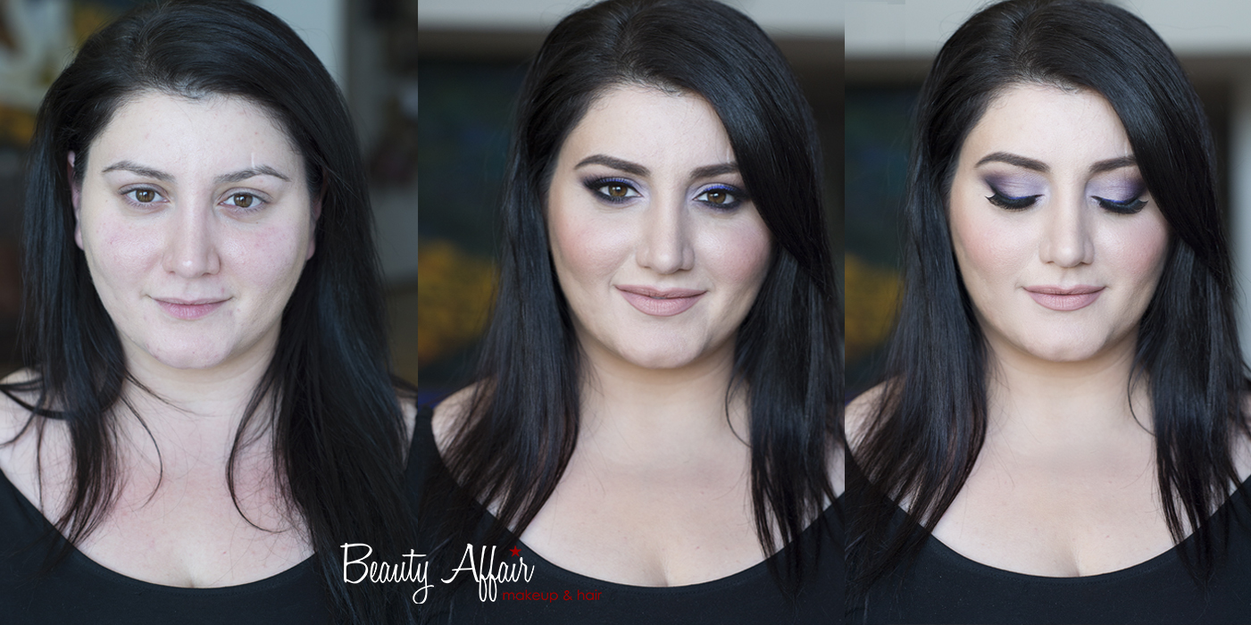 Armenian beauty before and after purple eyeshadow brown eyes makeover by Agne Beauty Affairjpg