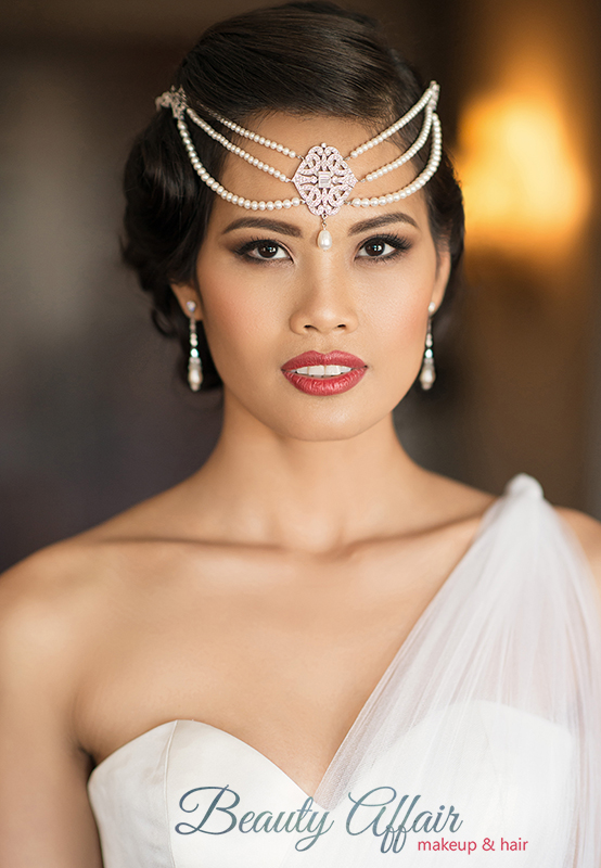 by Beauty Affair birdal makeup goddess head piece crown bridal red lips asian brown eyes light smokey eyesmin