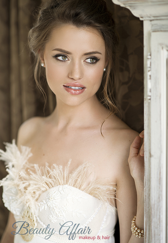 Natural glowing bridal makeup and romantic updo by Beauty Affair min