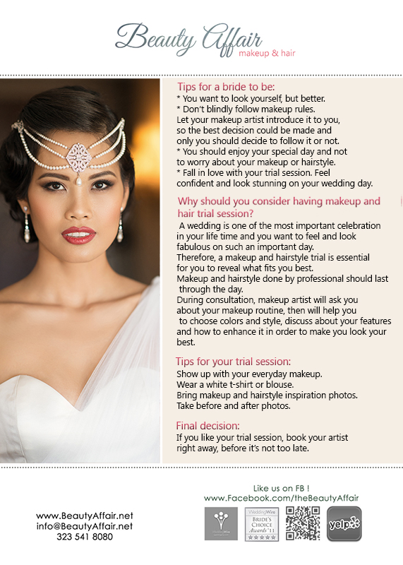 Bridal makeup tips by Beauty Affair Los Angeles