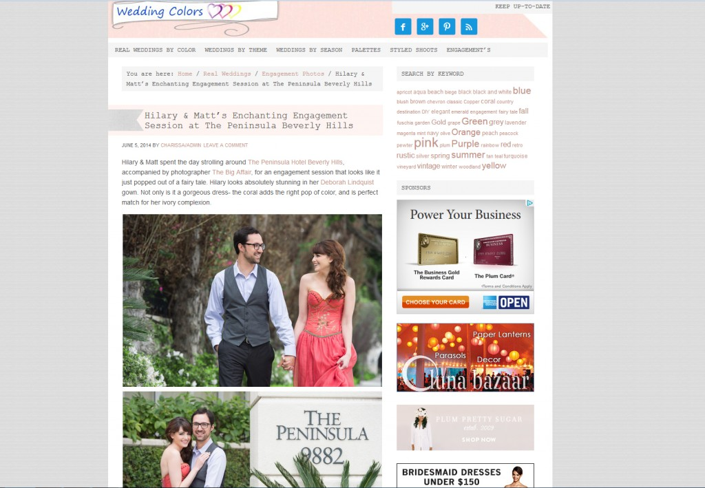 Beauty Affair publication in Wedding Colors bridal Peninsula hotel makeup engagement