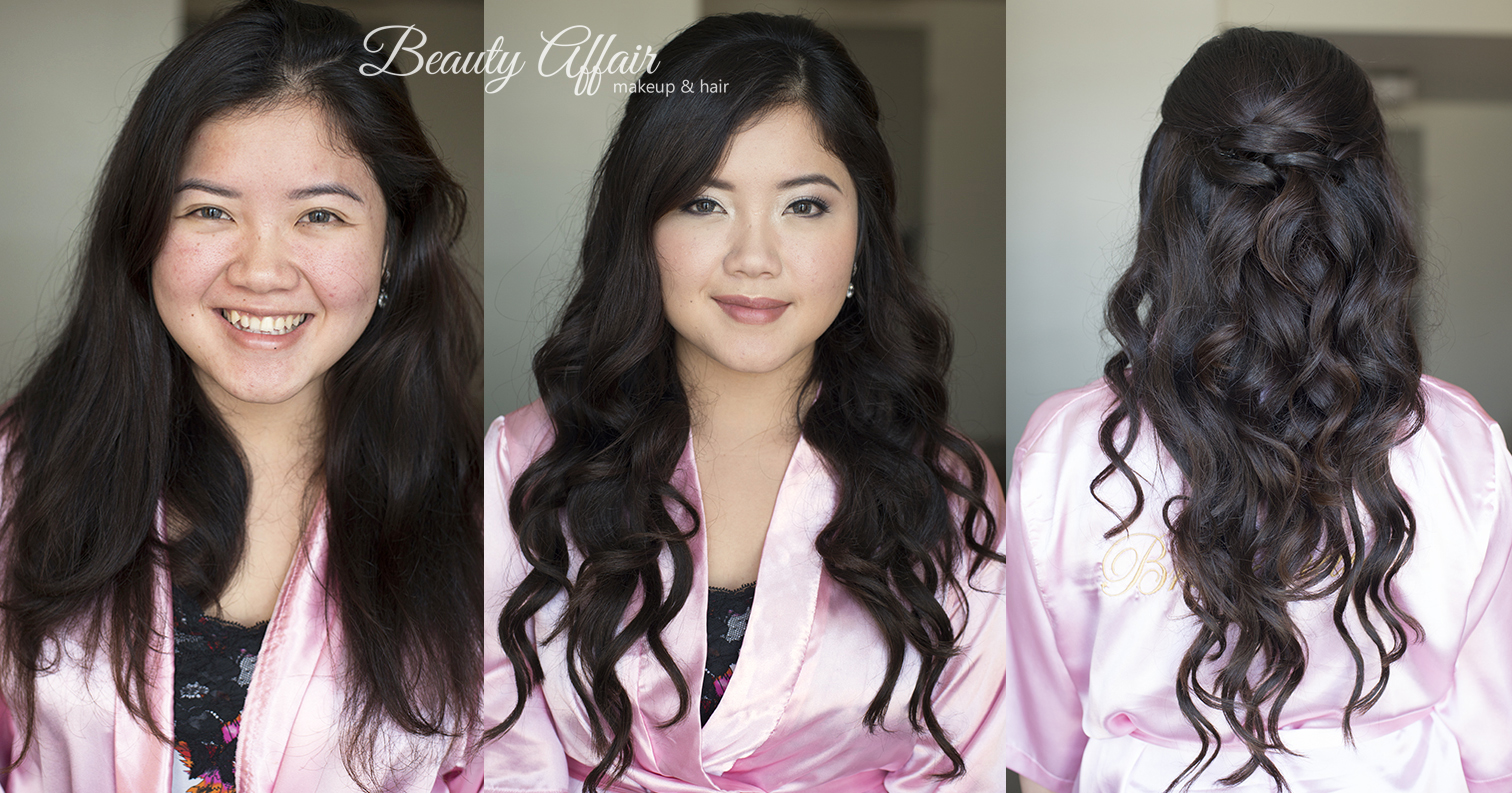 Beauty Affair makeup and makeup Los Angeles before and after bridesmaid pink lips glowing skin