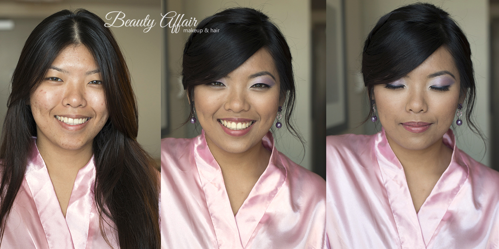 Beauty Affair makeup and makeup Los Angeles before and after bridesmaid pink lips purple eyeshadow