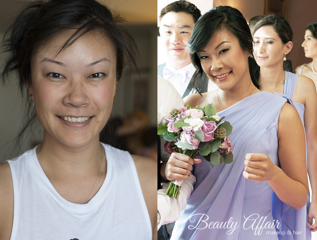 Beauty Affair makeup and makeup Los Angeles asian bridesmaid purple dress