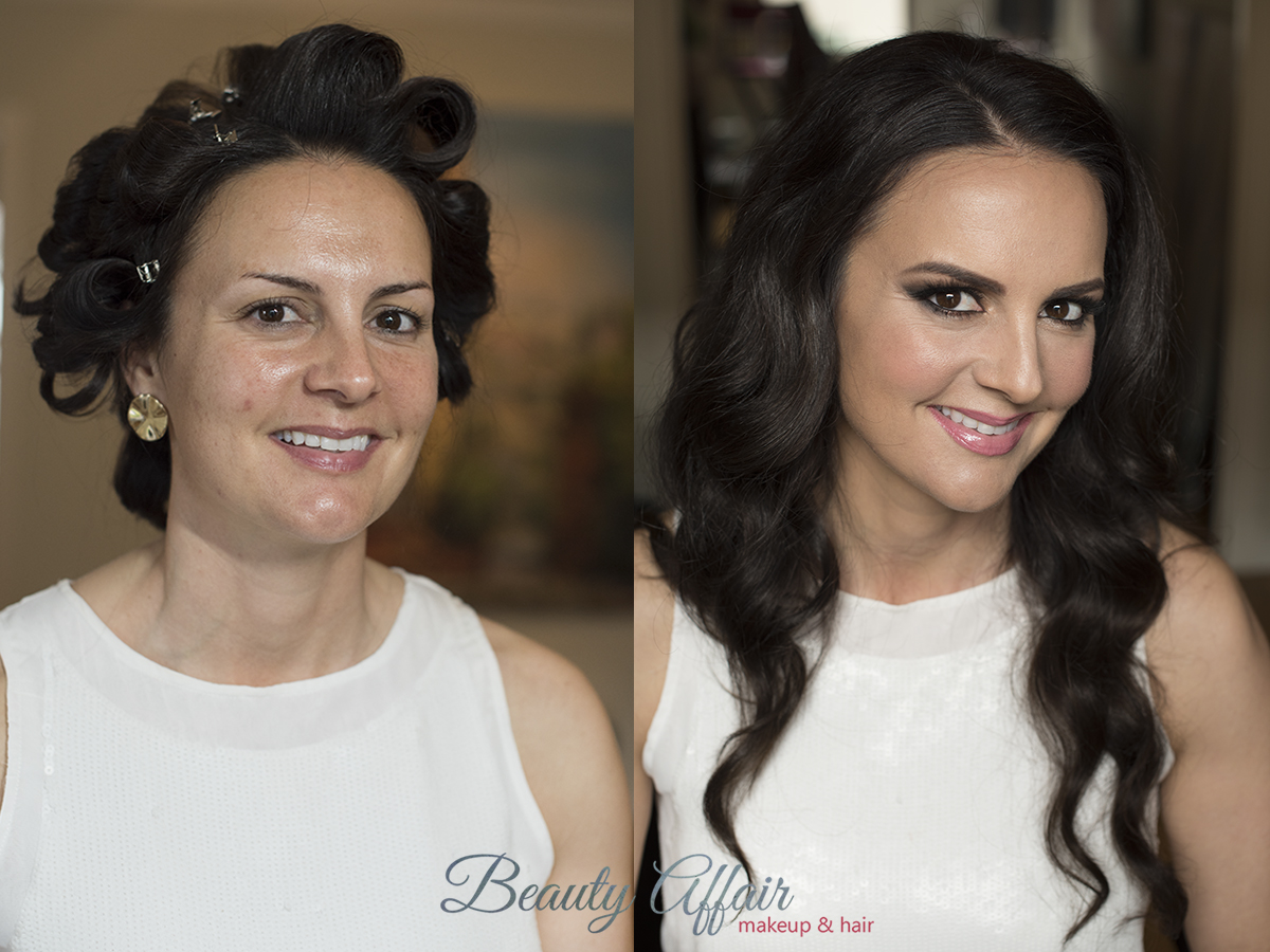 Bridal makeup and hairstyle trial hollywood glam pink lips brown smokey eyes before and after