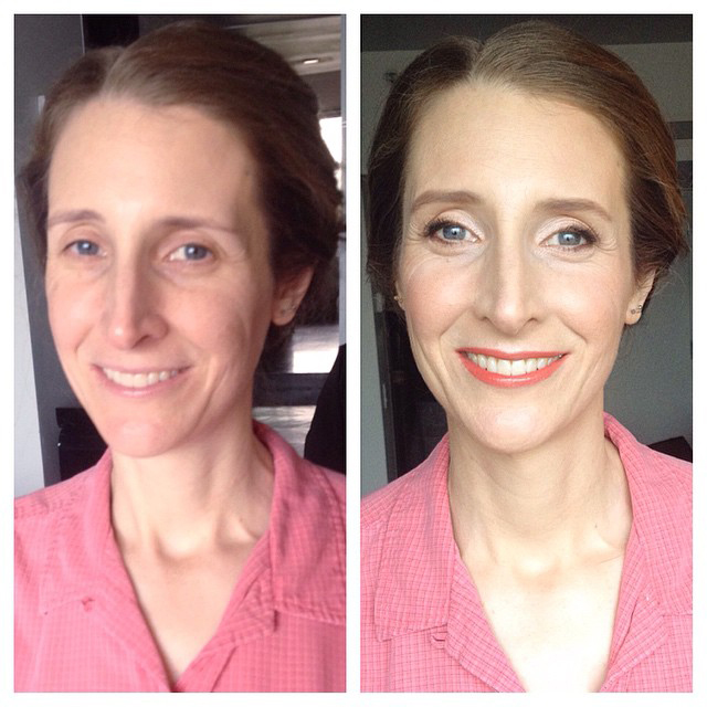 Oscar red carpet makeup and hairstyle by Agne Skaringa Beauty Affair before and after
