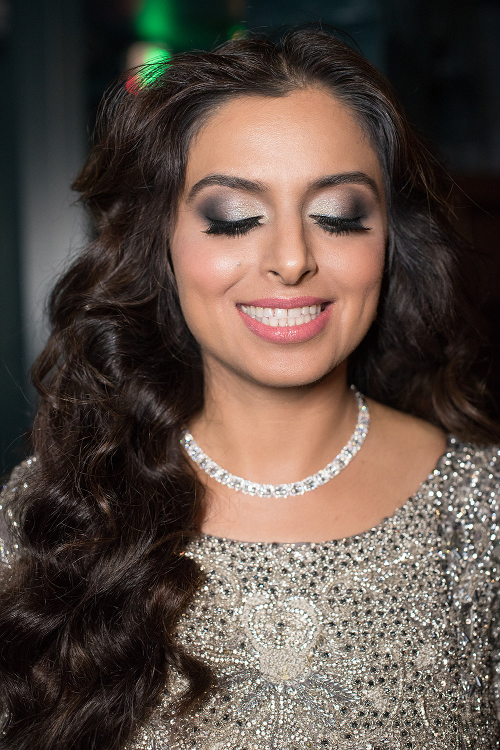 Glamorous glow indian bride silver glitter eyeshadow grey black pink lips by Beauty Affair Agne Skaringa copy.jpg