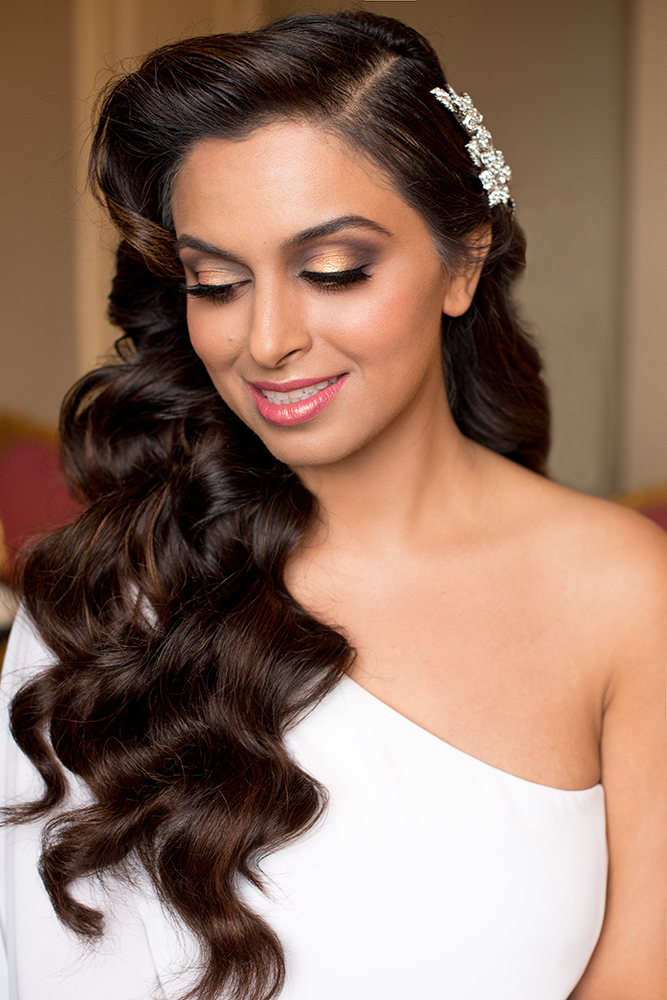 Indian bride smokey eyes glam makeup gold LA Los Angeles makeup artist pink Beauty Affair Agne Skaringa .jpg
