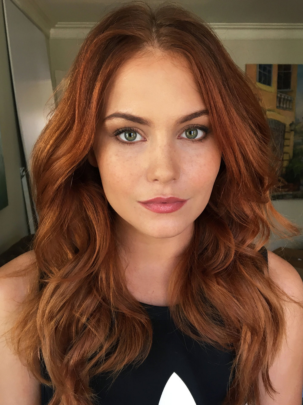Redhead beauty green eyes Makeup and hair by Agne Skaringa Beauty Affair Hollywood LA.jpg