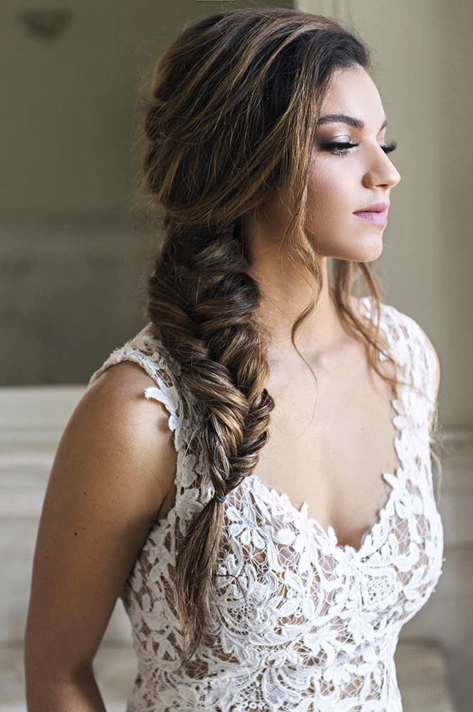 Bridal makeup and hair fish braid on a side boho lace beauty affair.jpg