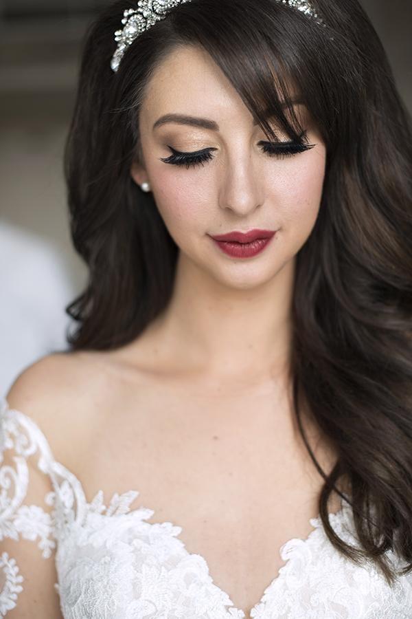 Bride big volume hair brunette berry lips bridal bride makeup hair down.jpg