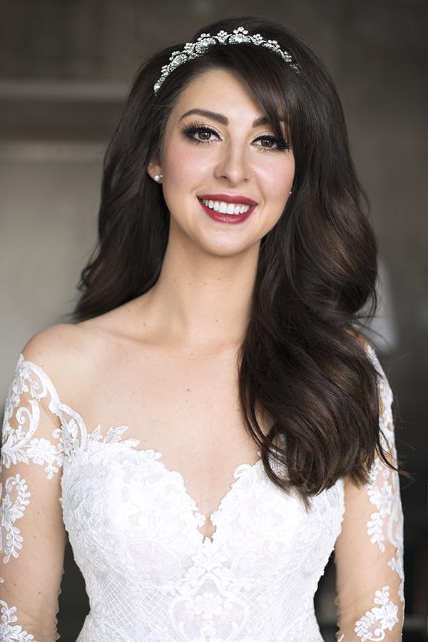 Bride tiara big volume hair brunette berry lips bridal bride makeup hair down.jpg