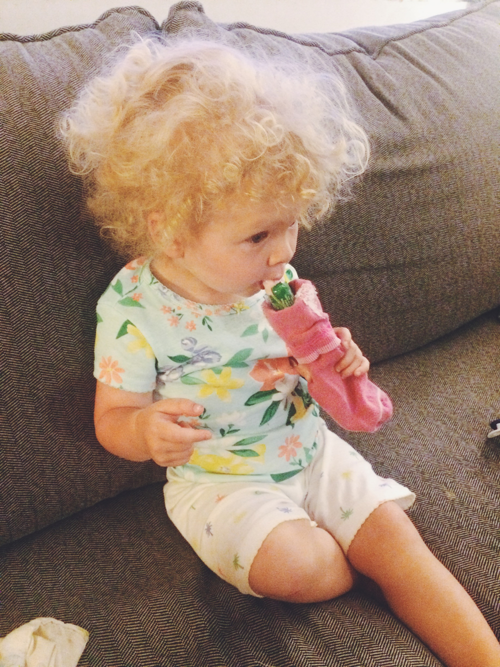 Mom hack: freeze Gogurts and use a sock to make them more comfortable to hold.