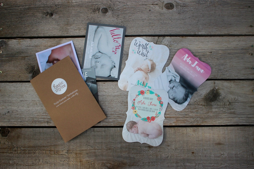 Gorgeous birth announcements from BasicInvite.com! This post is full of practical tips for getting ready for your second baby. Pin for later!