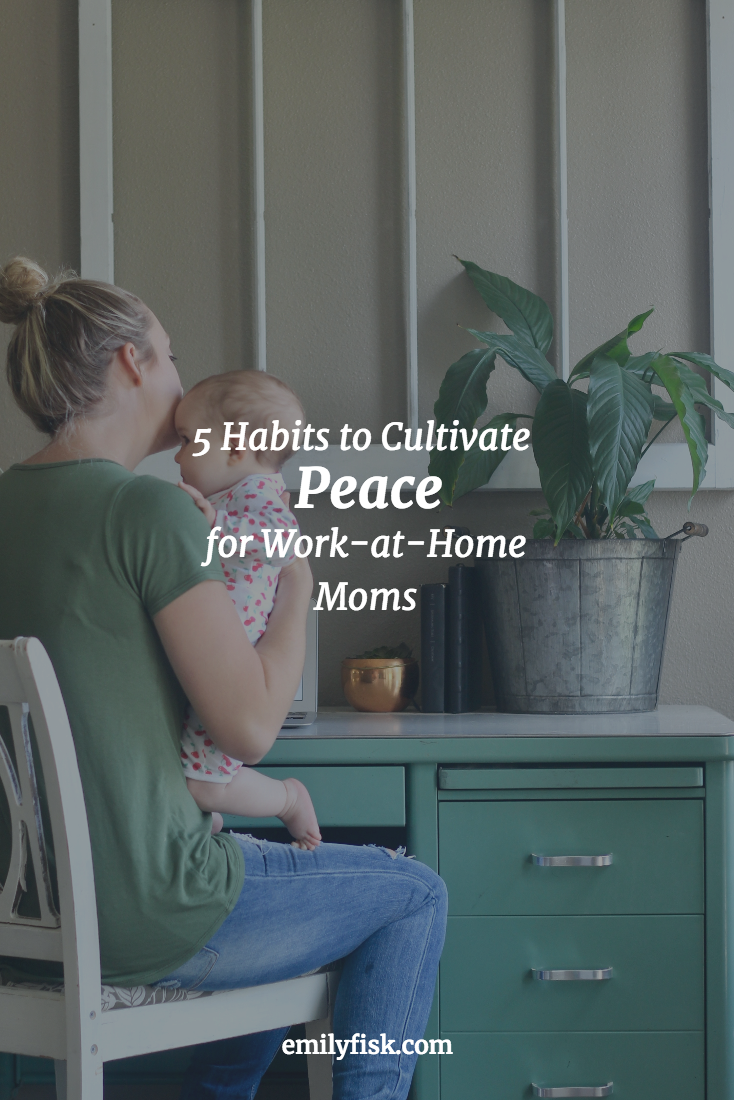 5 Habits to Cultivate Peace for Work-at-Home Moms. It's not easy living in two worlds, and working from home can feel isolating. Sanity-saving tips!
