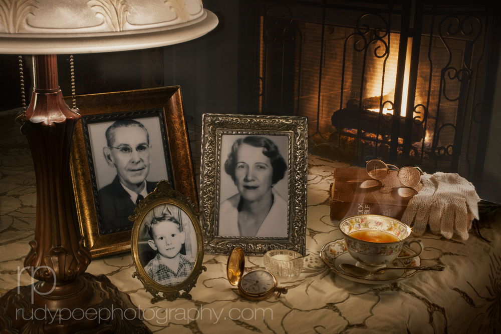 """Teatime at Grandma & Grandpa's House"". Using family photos and heirlooms I created this tribute to days gone by."