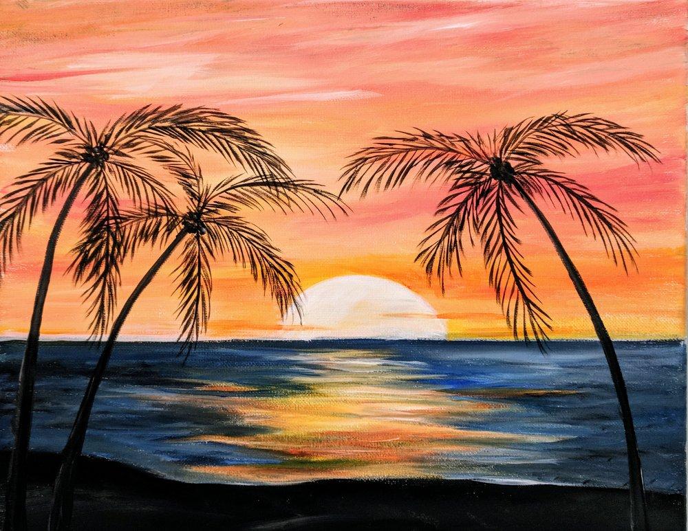 Tropical palm sunset