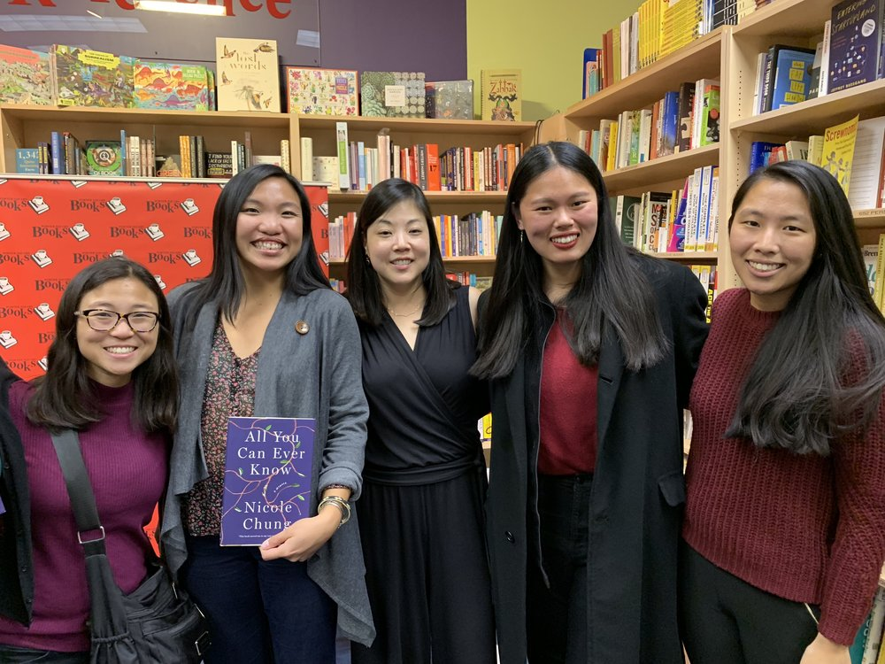 Boston Chinese adoptees attend the Nicole Chung book talk event on her recent memoir All You Can Ever Know at Porter Square Books, moderated by Little Fires Everywhere author Celeste Ng, this past Monday, October 22nd!!