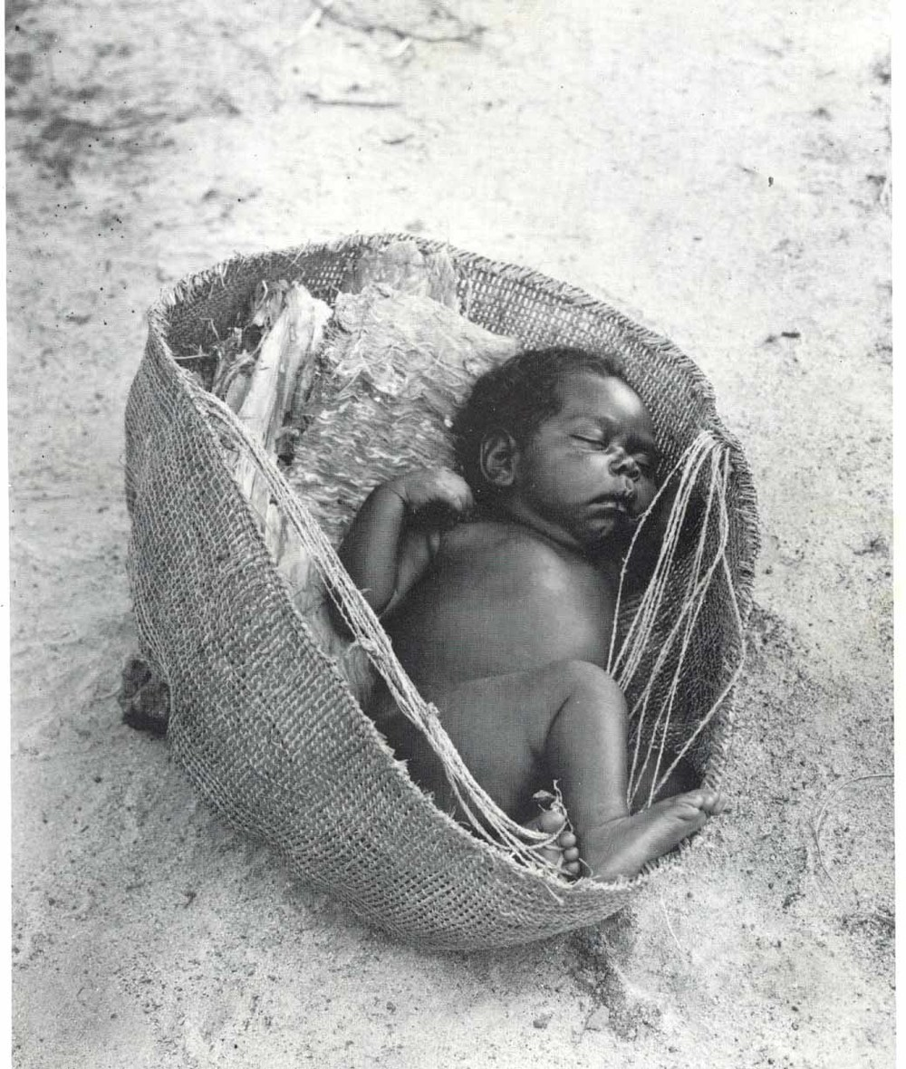 This extraordinary archetypal folk craft - baby carry basket from the Lockhart River Region maintains pre-contact memory. This was a regional traditional cultural practice from this landscape and these simple fibre lessons connect us all through doing /practicing these simple fiber lessons.