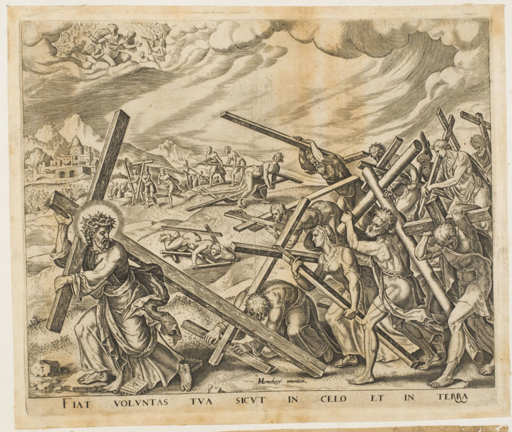 Thy Will be Done...;Christ Leading a Multitude of People Bearing Crosses,    From the series The Lord's Prayer,  Late 16th century Workshop of Philips Galle, Flemish, from the  Philadelphia Museum of Art