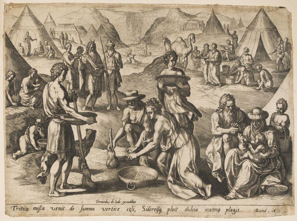 Gathering the Manna  , c. 1585, by Jan Sadeler I, Flemish from the  Philadelphia Museum of Art