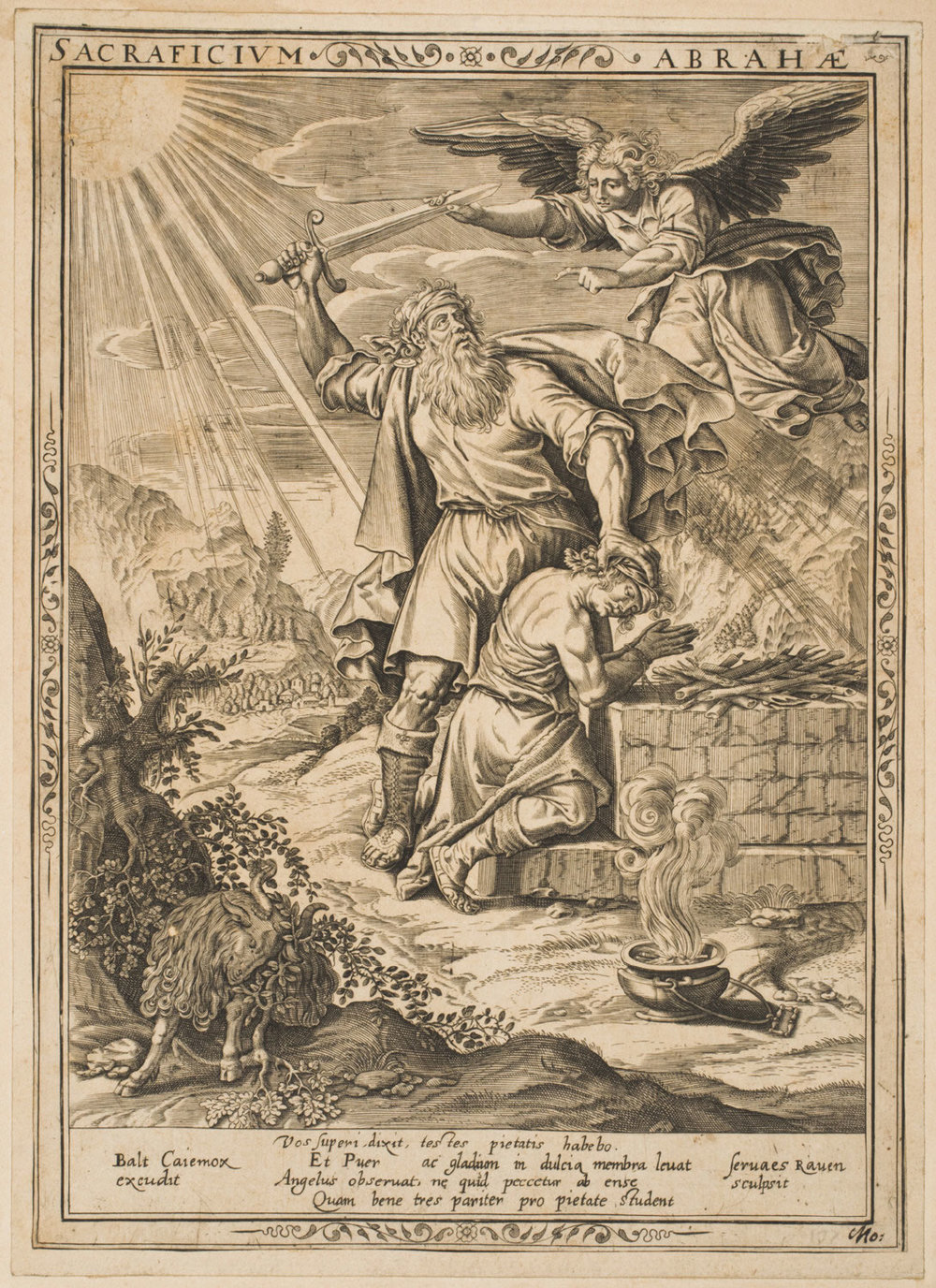 Abraham's Sacrifice  , c. 1650-1700, by Servatius Raven, Dutch from the  Philadelphia Museum of Art