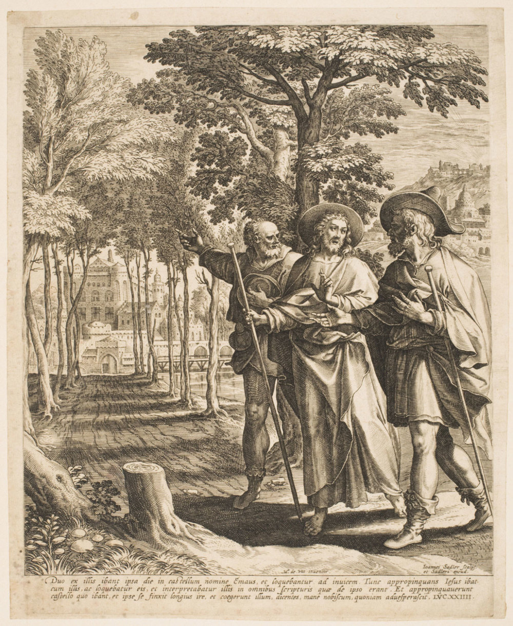 Christ on the Way to Emmaus  , c. 1587, by Jan Sadeler I, Flemish from the  Philadelphia Museum of Art