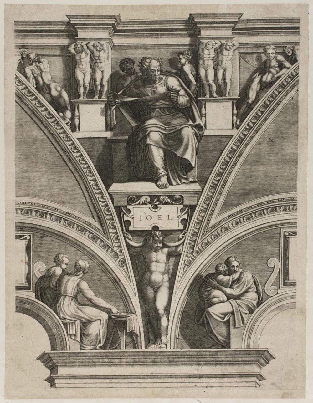 The Prophet Joel  , c. 1572, by Giorgio Ghisi, Italian from the  Philadelphia Museum of Art