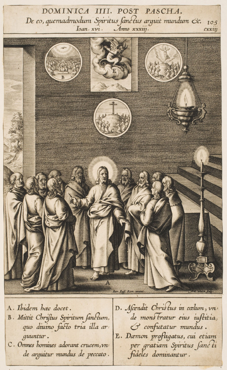 Christ Announcing the Work of the Holy Spirit  , 1616, by Anton Wierix II, Flemishfrom the  Philadelphia Museum of Art