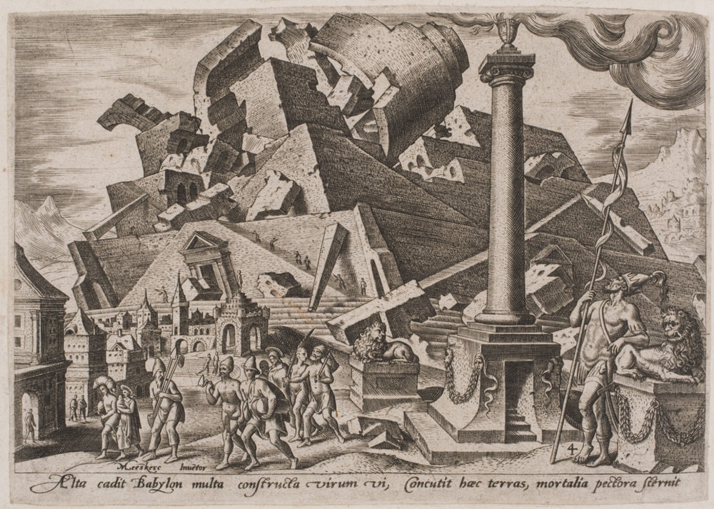 Destruction of the Tower of Babel; The Dispersion of the Peoples  , 1569, by Philips Galle, Flemish from the  Philadelphia Museum of Art